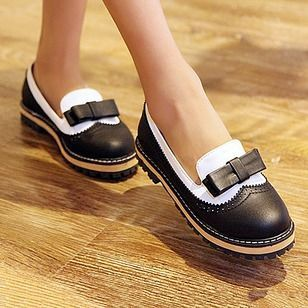 Women's Pumps Platform Low Heel PU Shoes #lowplatformpumps