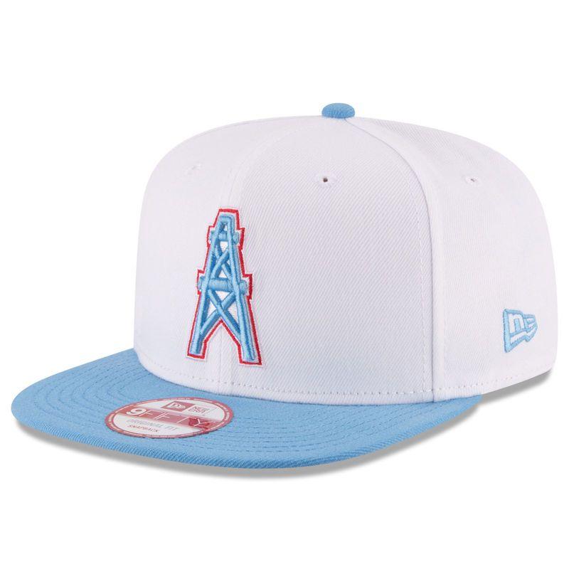 buy online c26cd 62931 Houston Oilers New Era Historic Logo Baycik 9FIFTY Snapback Adjustable Hat  - White Light Blue