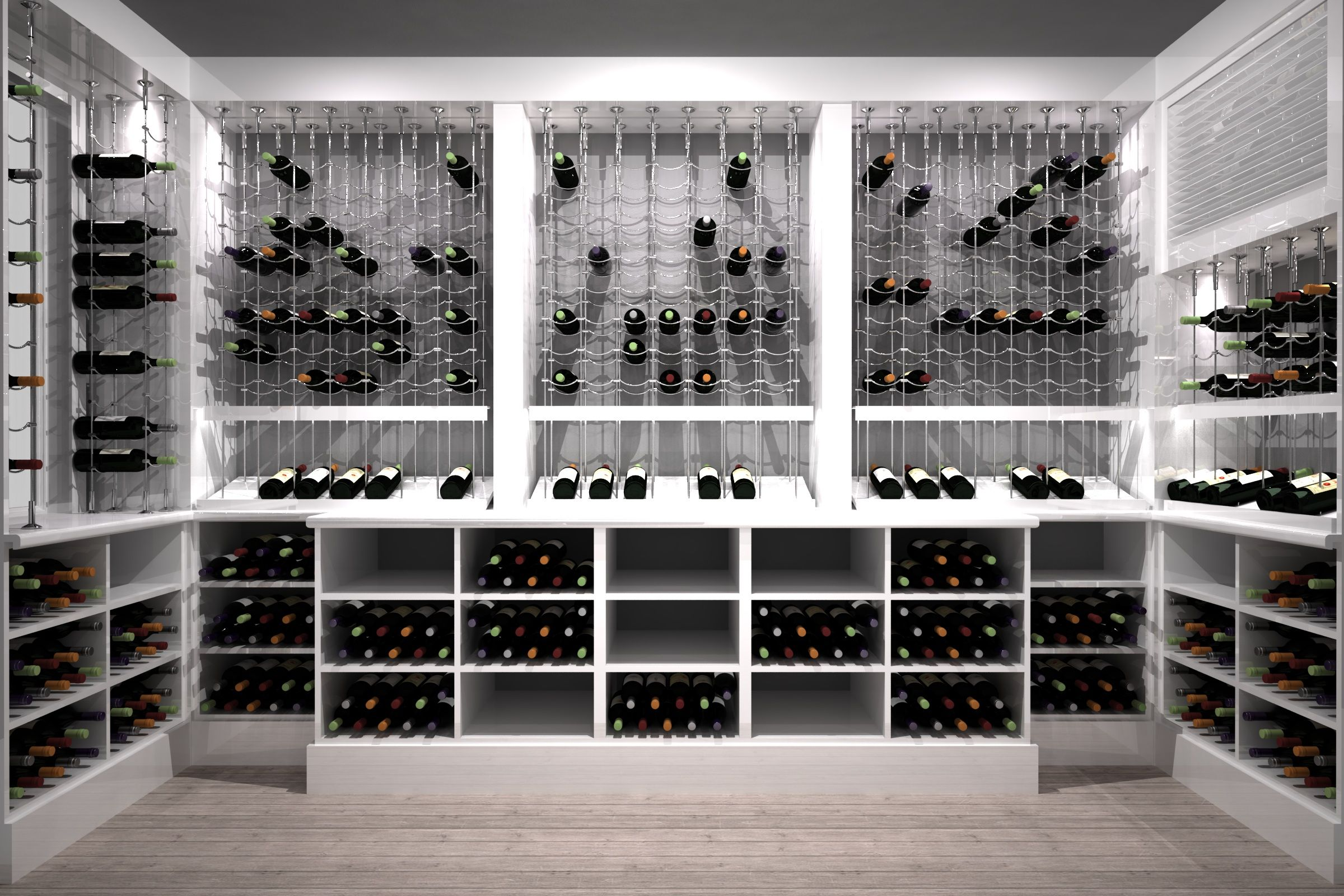 Modern White Custom Wine Cellar Featuring The Cable Wine System