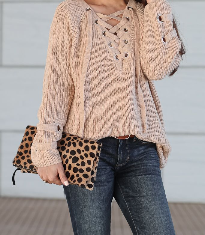 7449ed960c7f1c Petite Skinny Ankle Jeans, camel lace up mood sweater, Clare V leopard  foldover clutch, Tory Burch cat eye tortoise sunglasses, Vince Camuto  Franell western ...