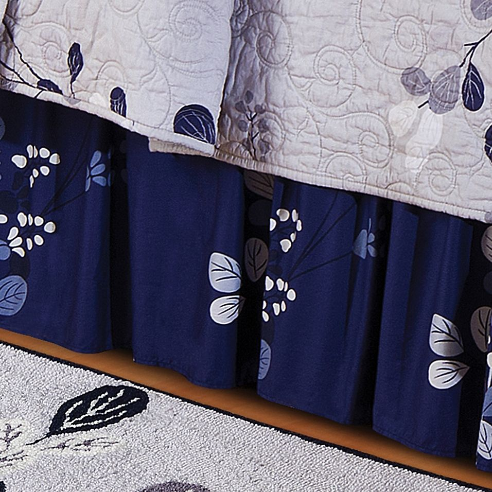 Geneva Queen Bed Skirt In Grey/navy Bed linen design