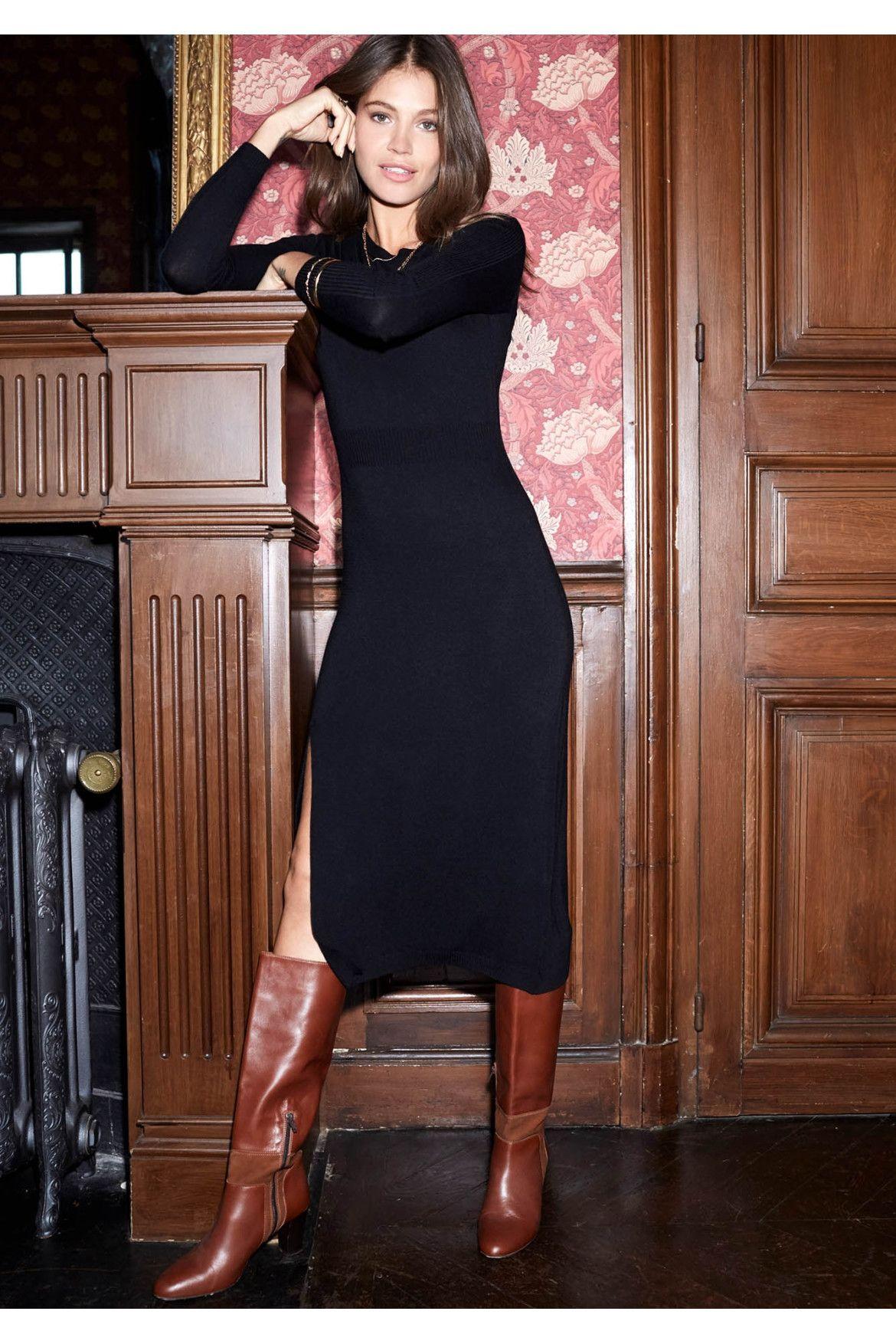 Robe Clotaire noire   Robe avec bottes, Idées vestimentaires, Robe