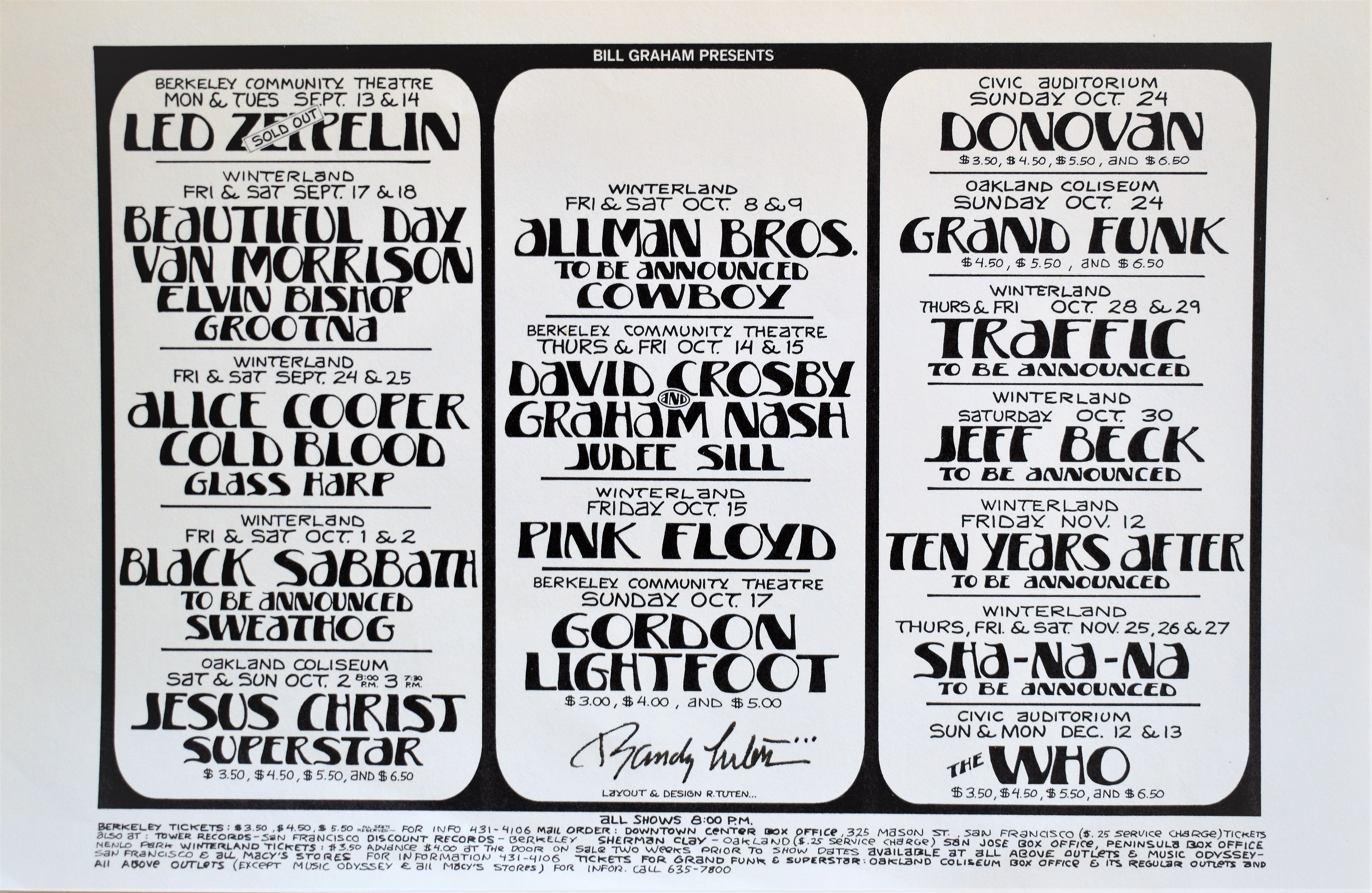 Led Zeppelin Handbill 1971 Signed By Randy Tuten In 2020 Led Zeppelin Led Zeppelin Poster Pink Floyd