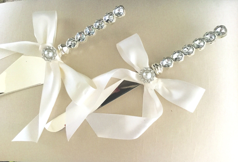 Rhinestone and Pearl Wedding Cake Knife & Server, Bone Silk Wedding ...