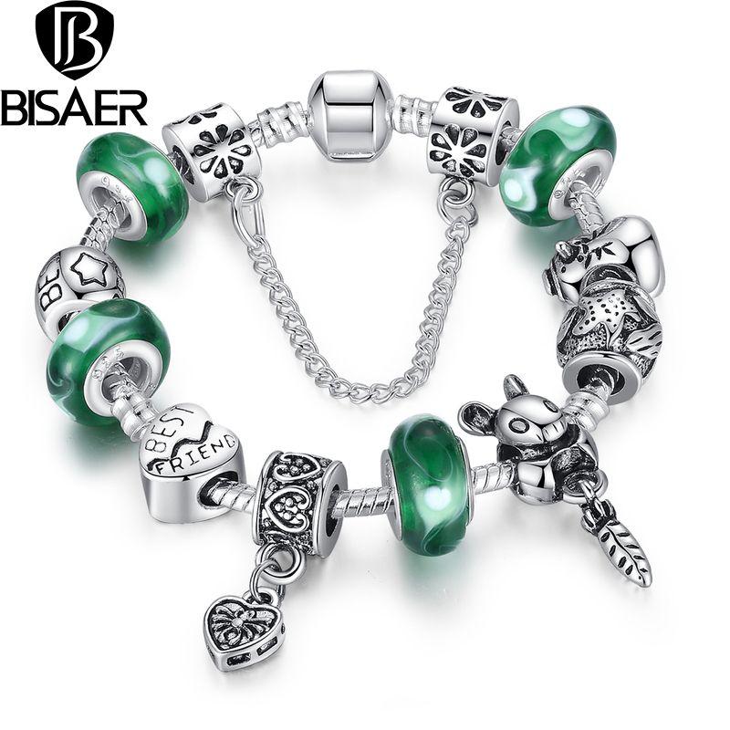 925 silver green bead animal best friend charm bracelet