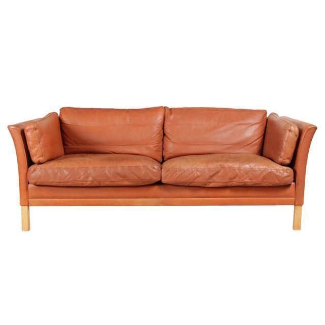 Contemporary Belgian Orange Leather Sofa