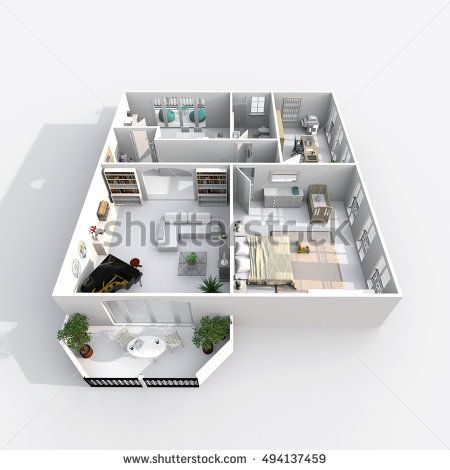 3d Interior Rendering Perspective View Of Furnished Home Apartment Room Bathroom Bedroom Kitchen Living Hall Entrance Door Window
