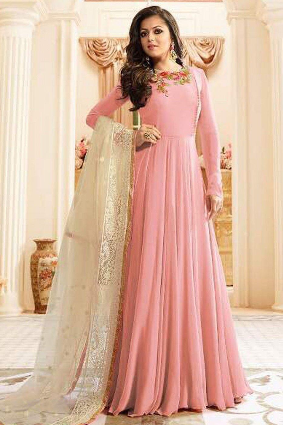 2e7b1f7bb2 Light Pink Georgette Fabric Bollywood Designer Occasionally Wear Party Wear  Drashti Dhami Floor Length Anarkali