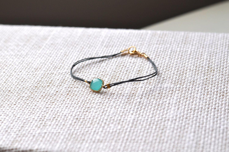 Nola Bracelet (grey & turquoise gem). $18.00, via Etsy.