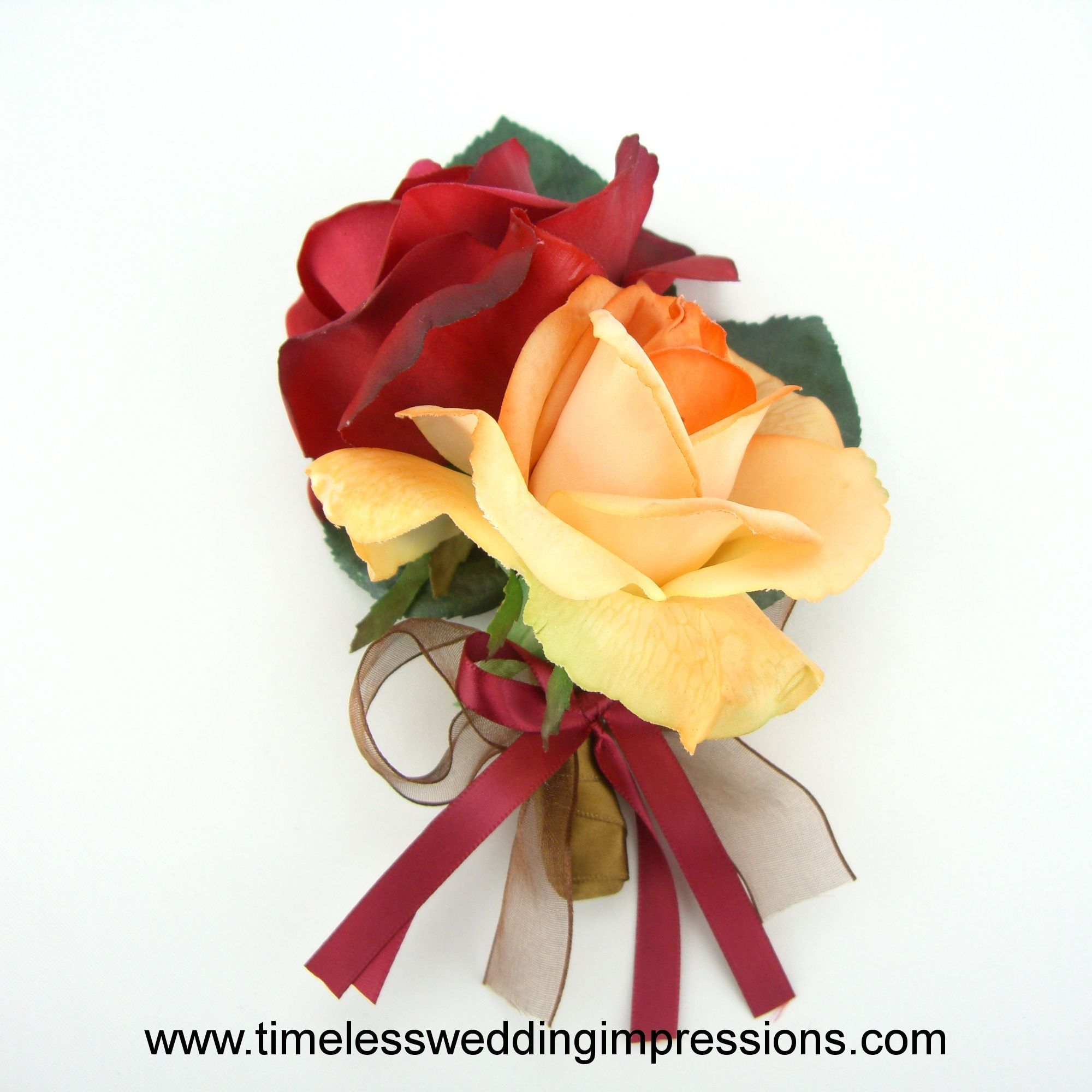 Fall Wedding Flowers Roses Corsage Real Touch Silk Wedding Flowers