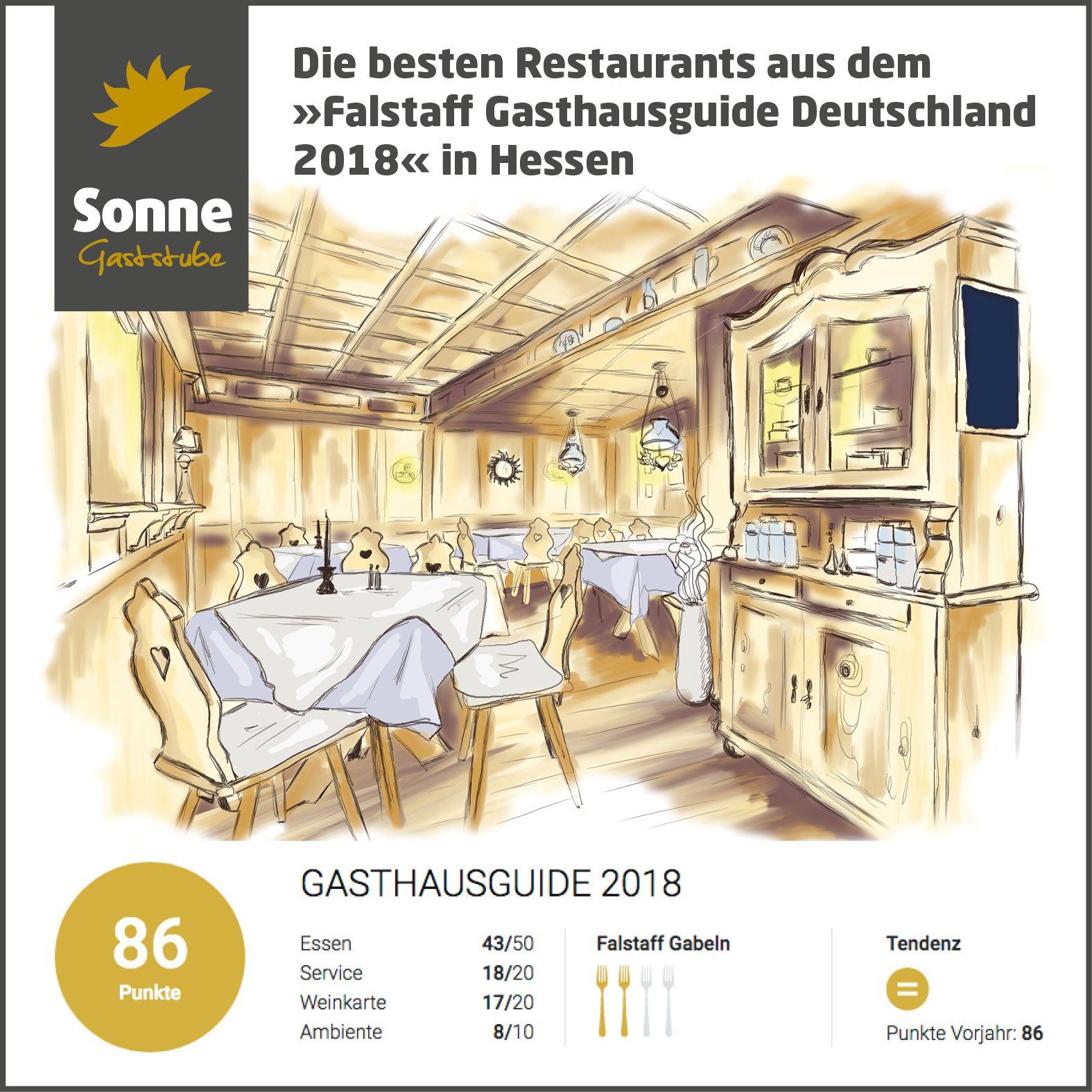 """Juhu, wir sind wieder mit unserer Gaststube Sonne beim """"Falstaff Gasthausguide Deutschland 2018"""" dabei und haben """"2 Gabeln"""" erhalten. https://www.falstaff.de/rf/lr/csm1/deutschland/hessen/gasthausguide-2018/"""