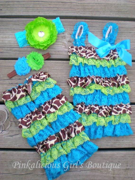 8e18ad559 Girl Baby Giraffe Lime   Turquoise Lace Satin by PinkaliciousGirl ...