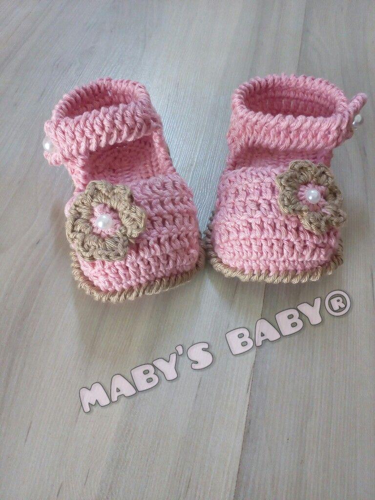 Sandália croche rosa e bege. Linda sandália de croche para