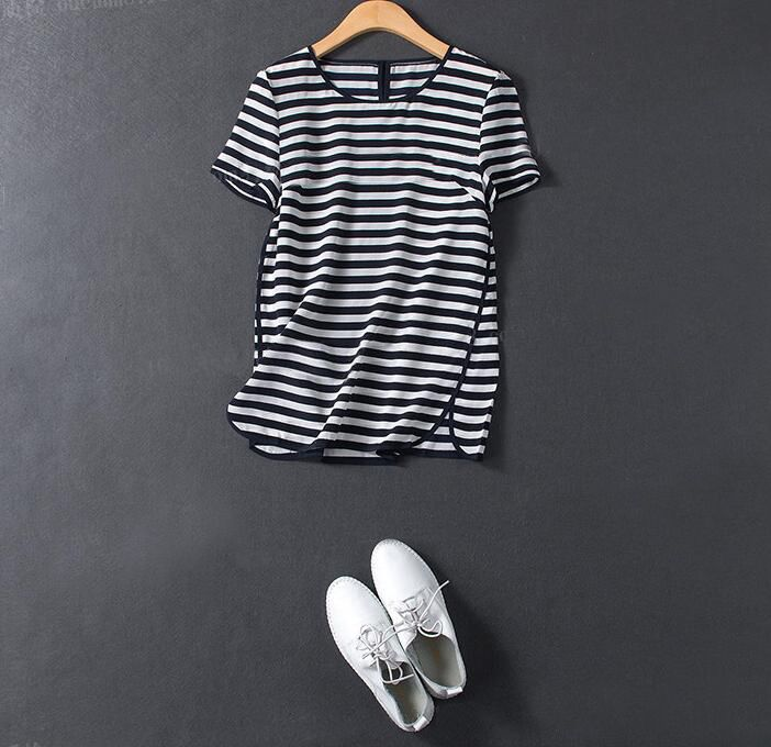 Spring Summer Dress 100%Silk Women Loose Style Solid Black&White Stripe O-Neck High Quality Clothing Free Shipping