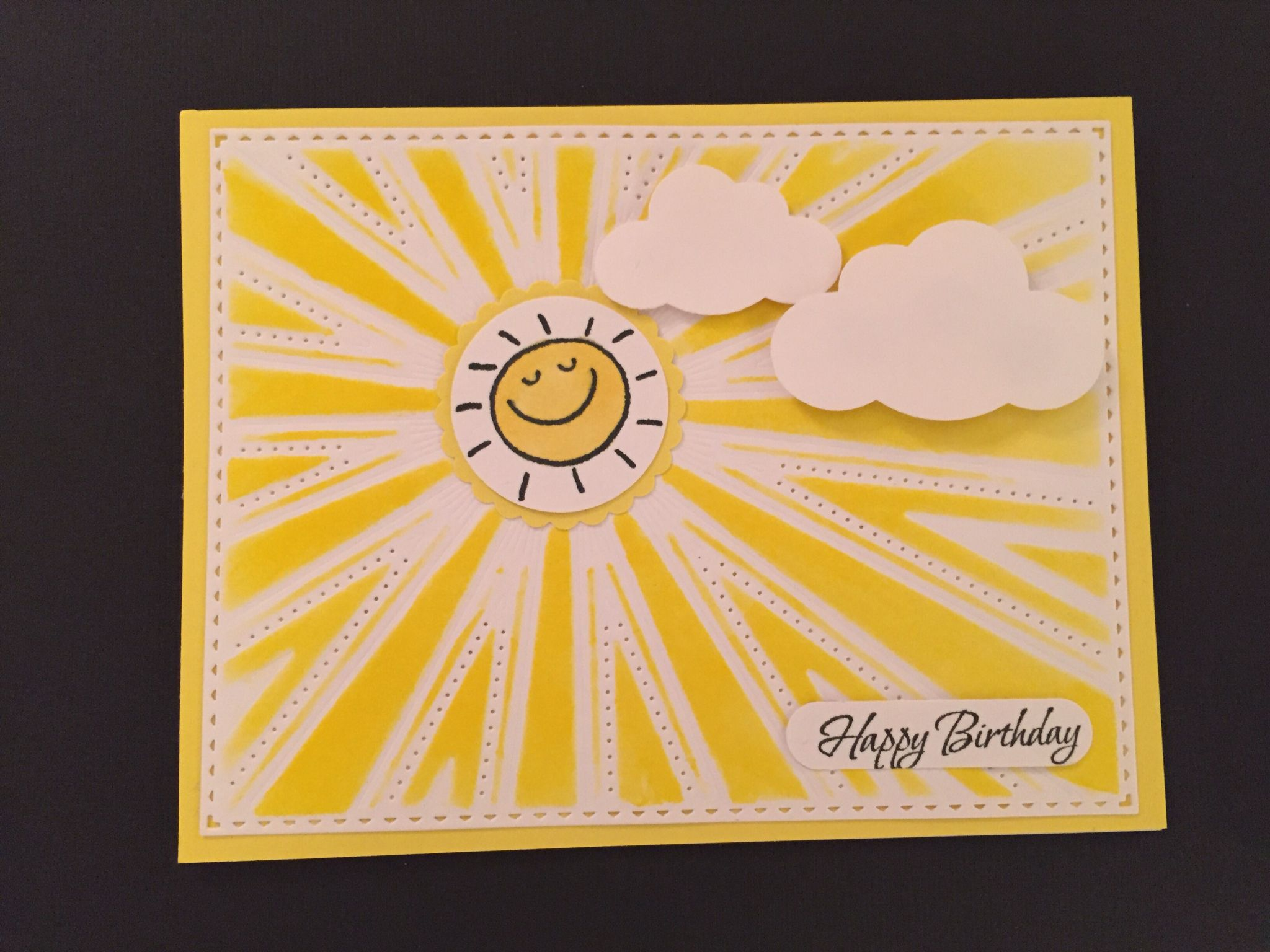 Sunburst Background Die And Embossing Template From Our Daily Bread Designs Cloud Punches From Fiskars And Sunny Face Stamp Fro Sunburst Cards Cards Sunburst