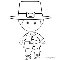 Black And White Pilgrim Boy Clip Art Thanksgiving Part Two Pinterest