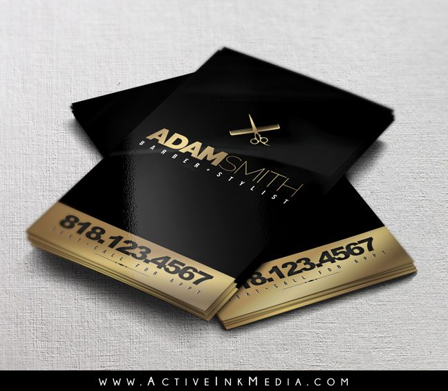 Black And Gold Barber Business Card Www Activeinkmedia