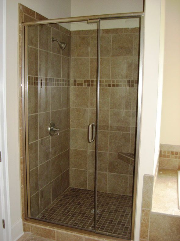 Inline Semi Frameless Shower Door With Brushed Nickel Finish Shower Doors Semi Frameless Shower Doors Bathrooms Remodel