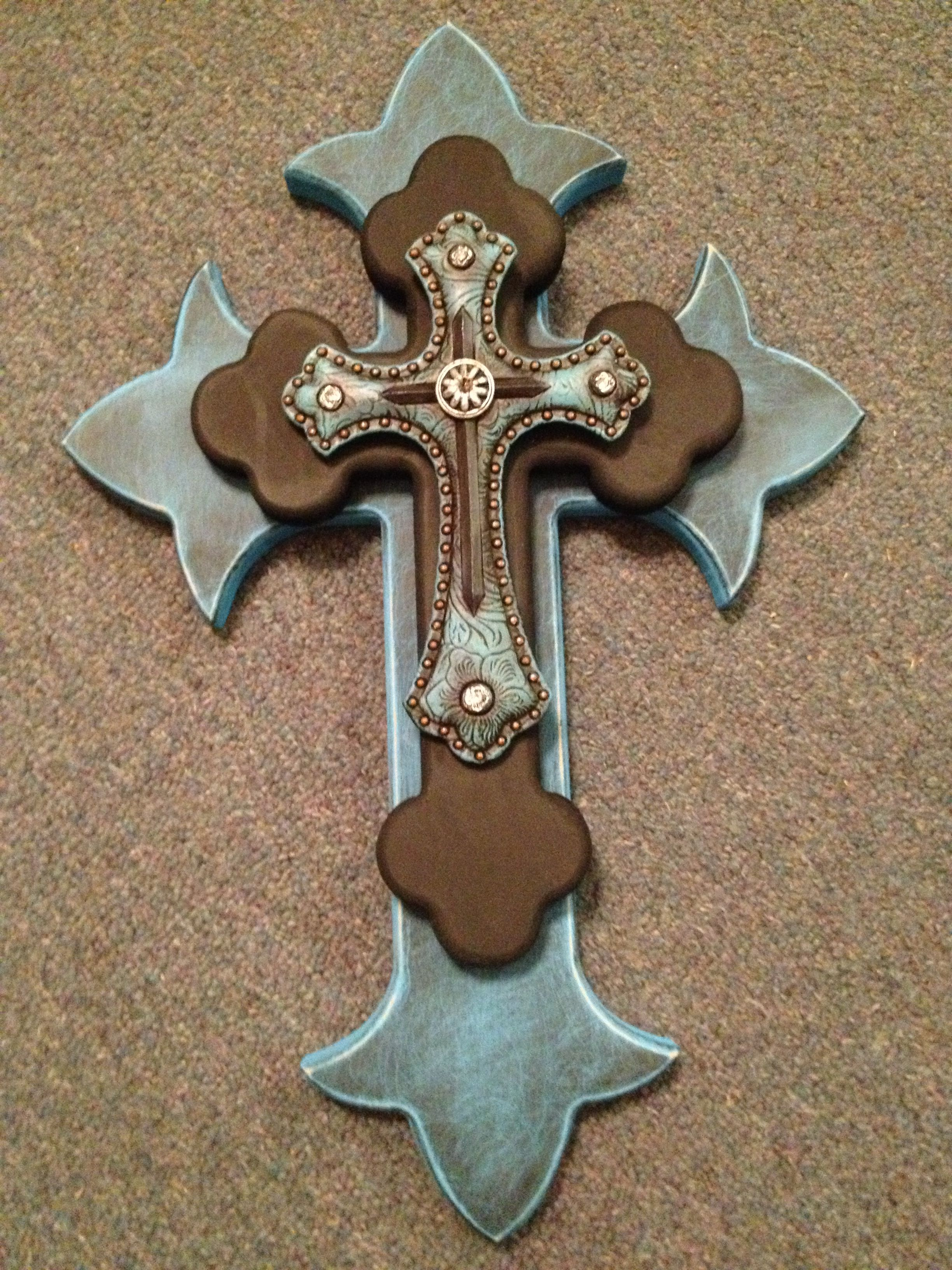 Wooden Cross  Teal & Black I Like The Shape Of
