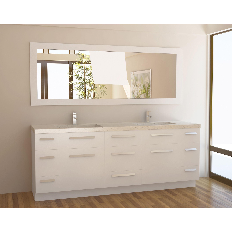 Design Element Moscony 84 Inch Quartz Double Sink Pearl White