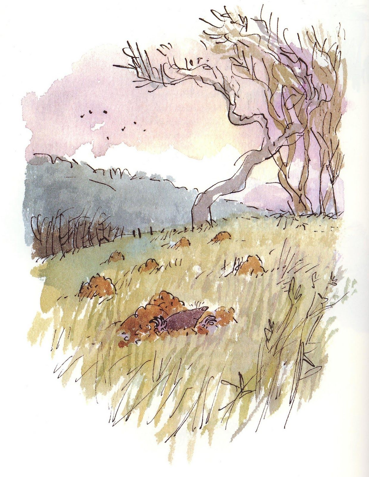 Quentin Blake And Landscapes Watercolor Illustration Children