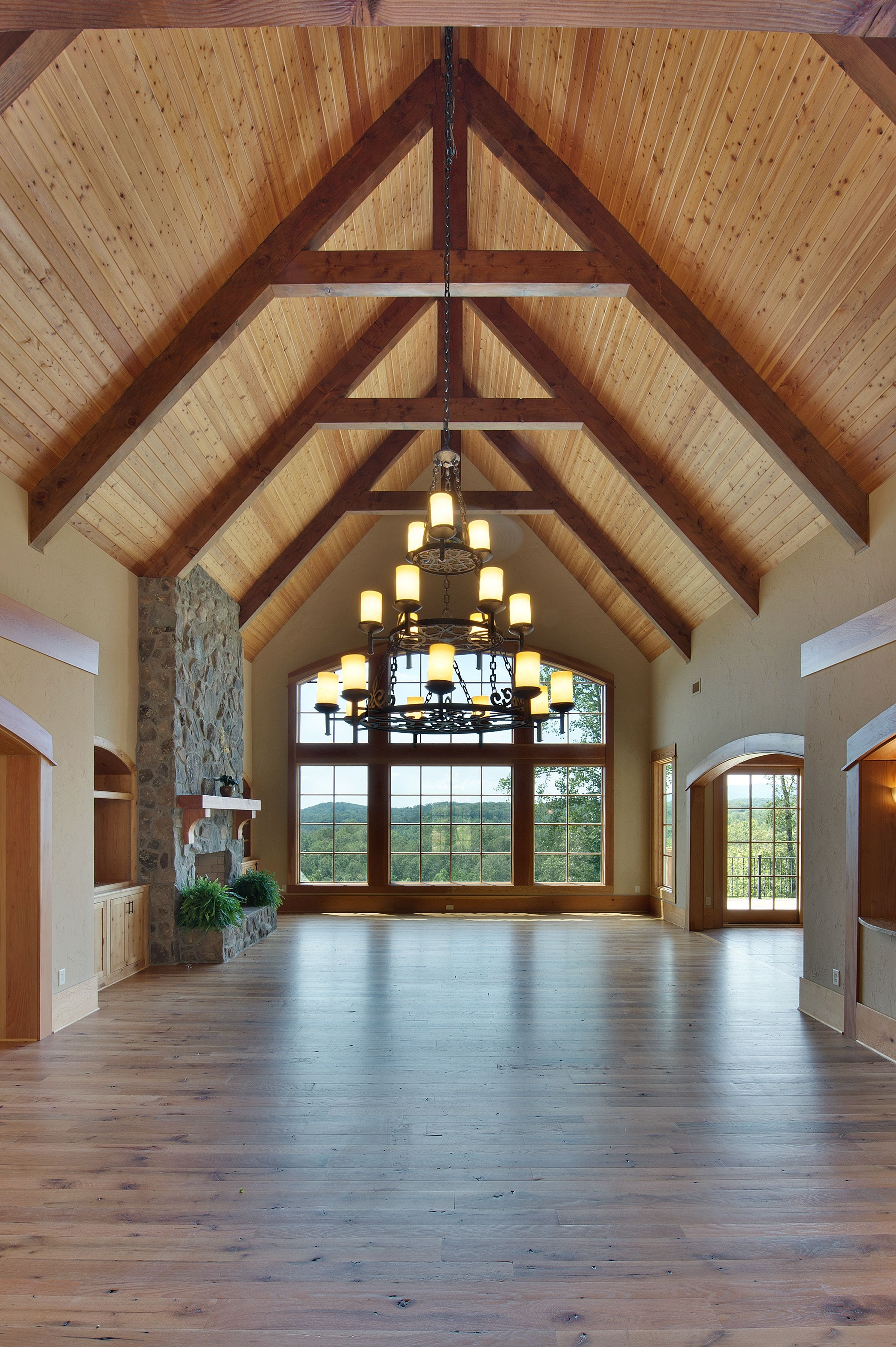 Vaulted ceiling and view like focal point hate warm wood for Wood vaulted ceiling