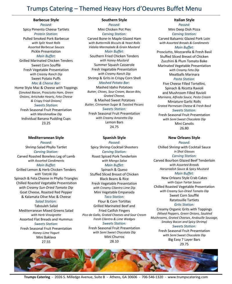 Wedding Reception Buffet Menu Ideas: Themed Heavy Hors D'Oeuvres Buffet Menu