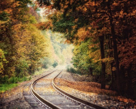 Landscape Photography Train Tracks Railroad by LisaRussoFineArt, $30.00