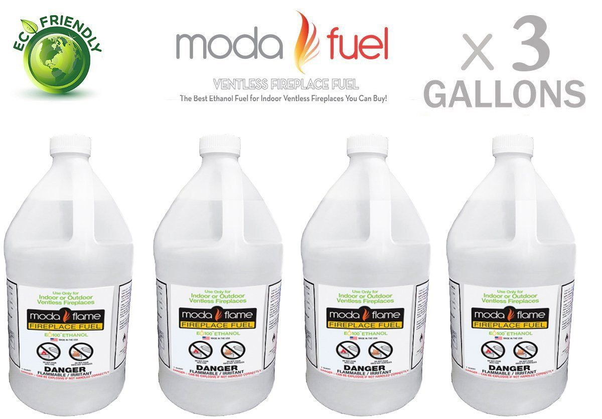 Moda Flame Ventless Bio Ethanol Fireplace Fuel 3 Gallons 3glmf