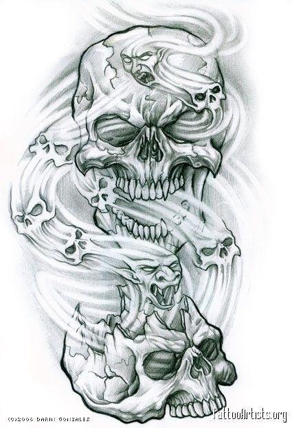 Resultado de imagen para tattoo humo | calaveras | Calaveras