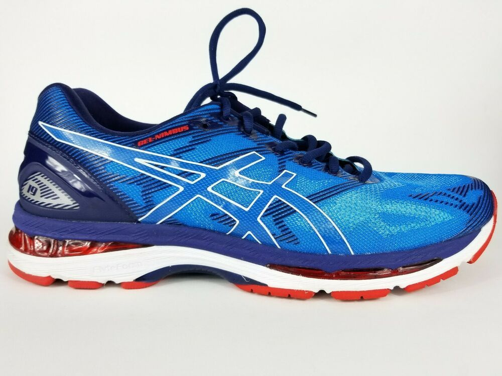 ASICS Gel Nimbus 19 Blue Red Road Running Athletic Shoes