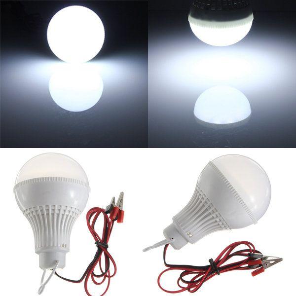 E27 LED Bulb White 9W 18 SMD 5730 Wire Solar Globe Light Lamp DC 12V