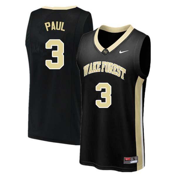 3470771b361 Men  3 Chris Paul Wake Forest Demon Deacons College Basketball Jerseys  Sale-Black