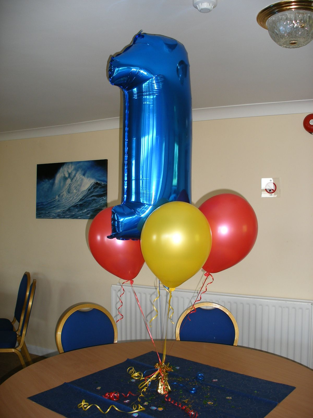 "1st birthday balloon bouquet with 40"" number 1 foil"