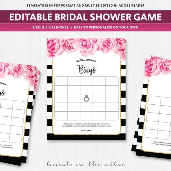 Bingo card template bridal shower game wedding fuschia pink roses flowers florals black white…