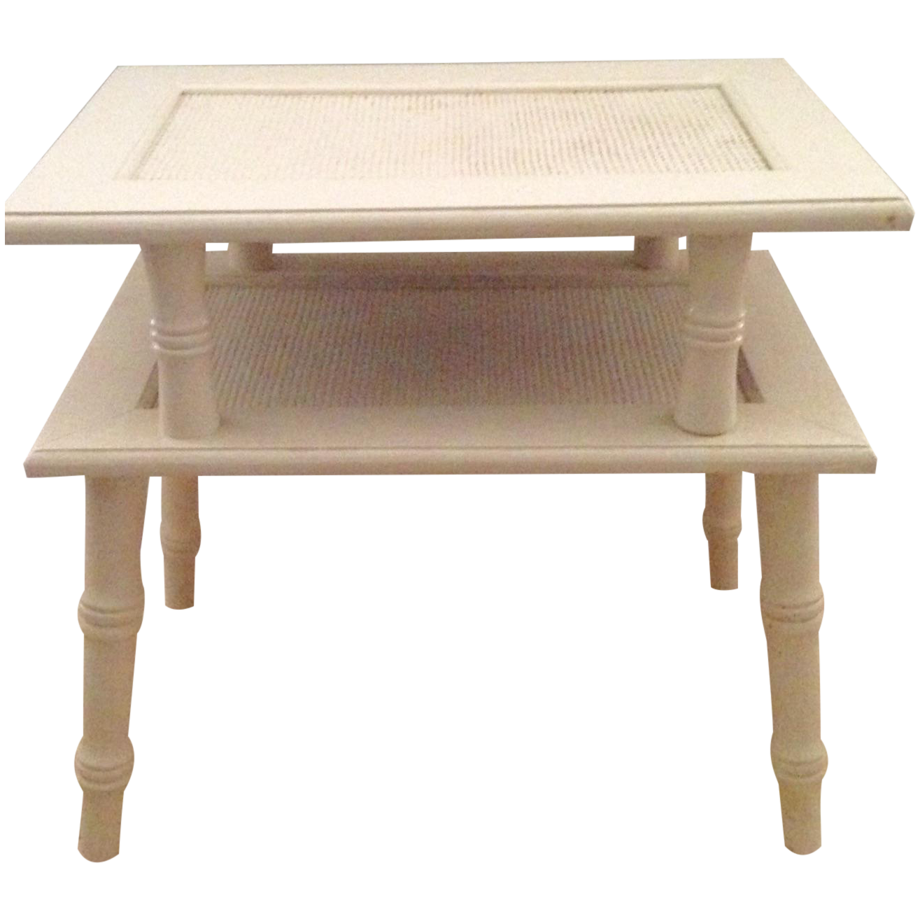 Vintage Two Tier Faux Bamboo End Table