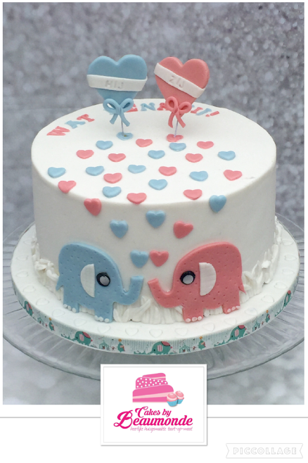 gender taart Gender reveal taart / cake, gevuld met gekleurde meringue creme  gender taart