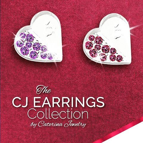 The CJ Earrings Collection in .925 Silver and Swarovski Crystals  Visit our website at www.caterinajewelry.com #cjsilvercharmcollection #caterinajewelry #earrings #heart #swarovski #swarovskicrystals