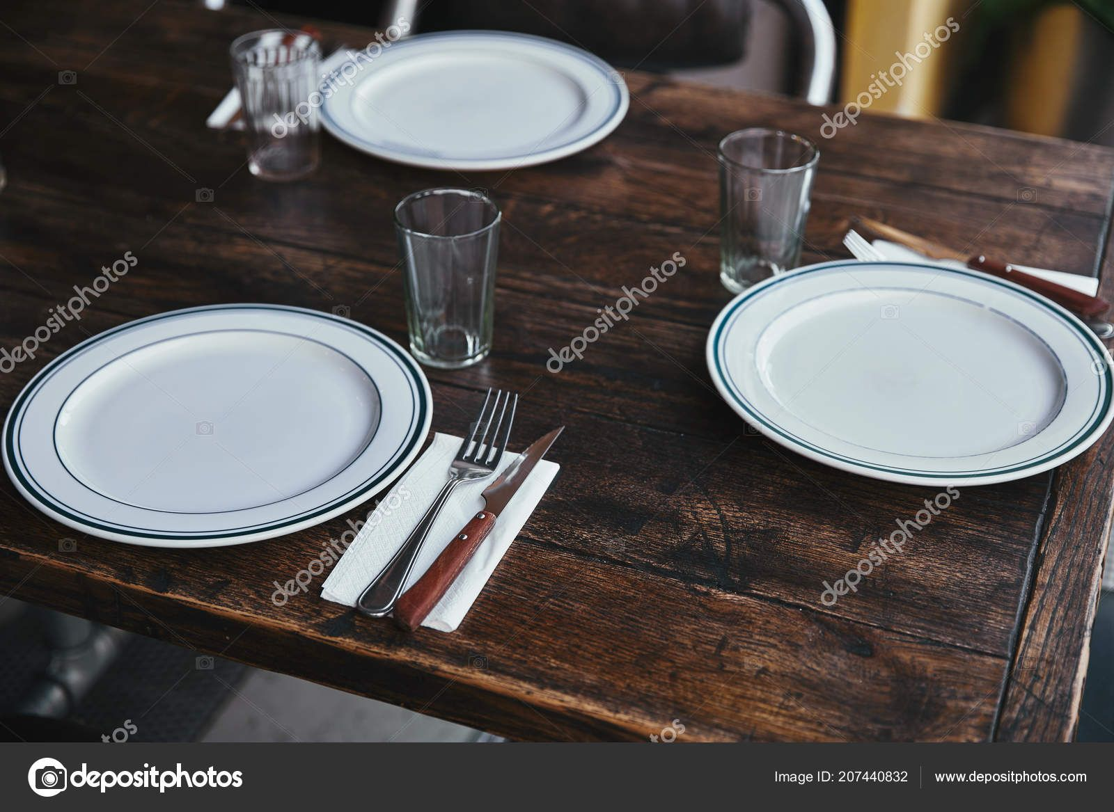 Simple Restaurant Table Setting Close Shot Simple Table