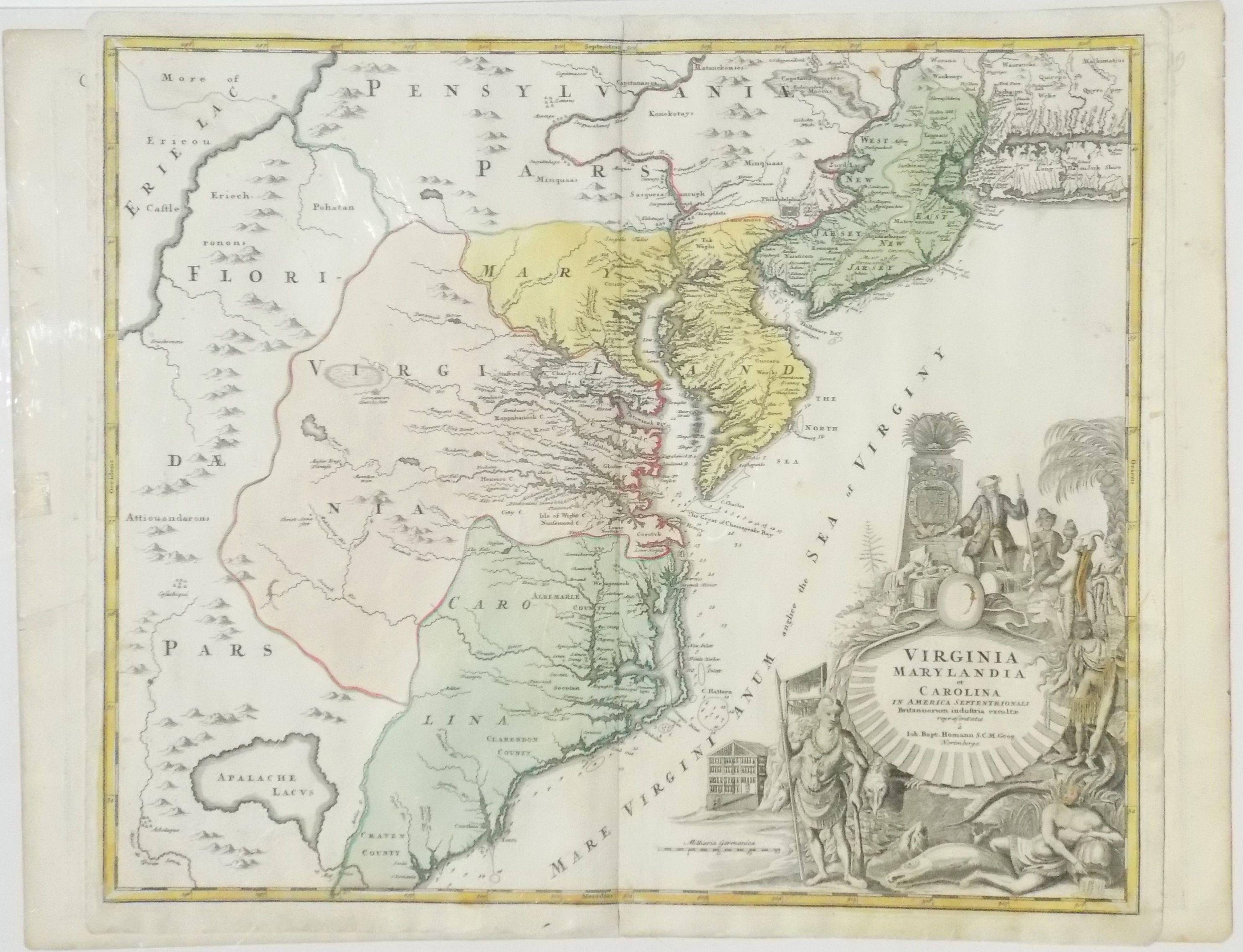 1714 Homman Map of Virginia Maryland Delaware & Carolina Original