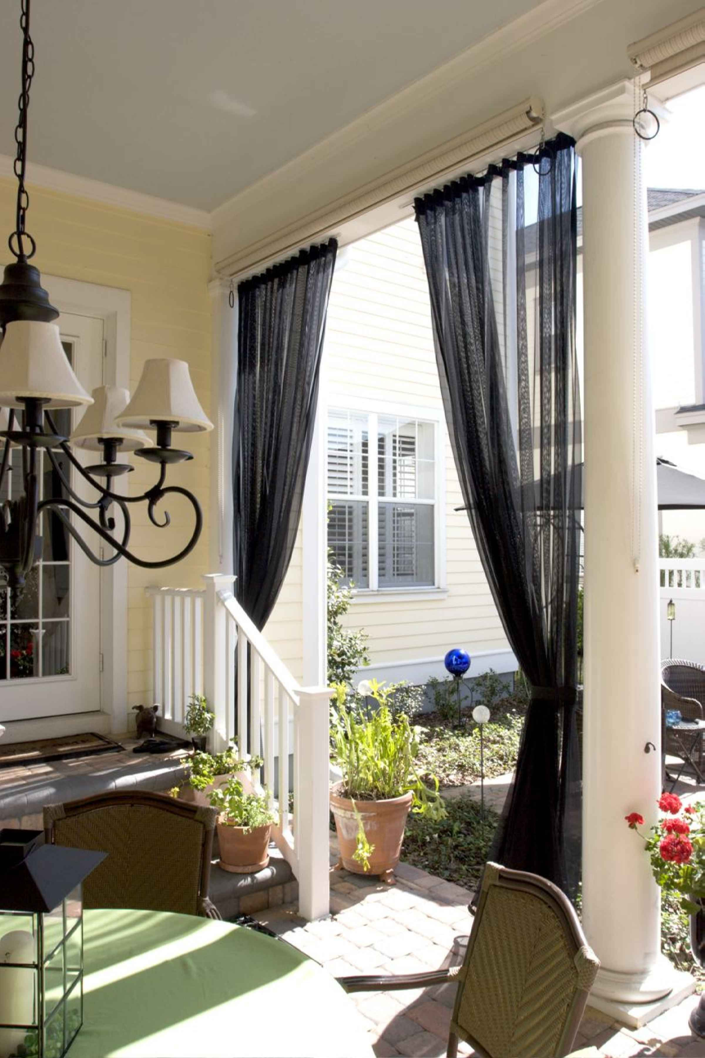 Screen porch curtains mosquito netting curtains and no for Hanging porch privacy screen