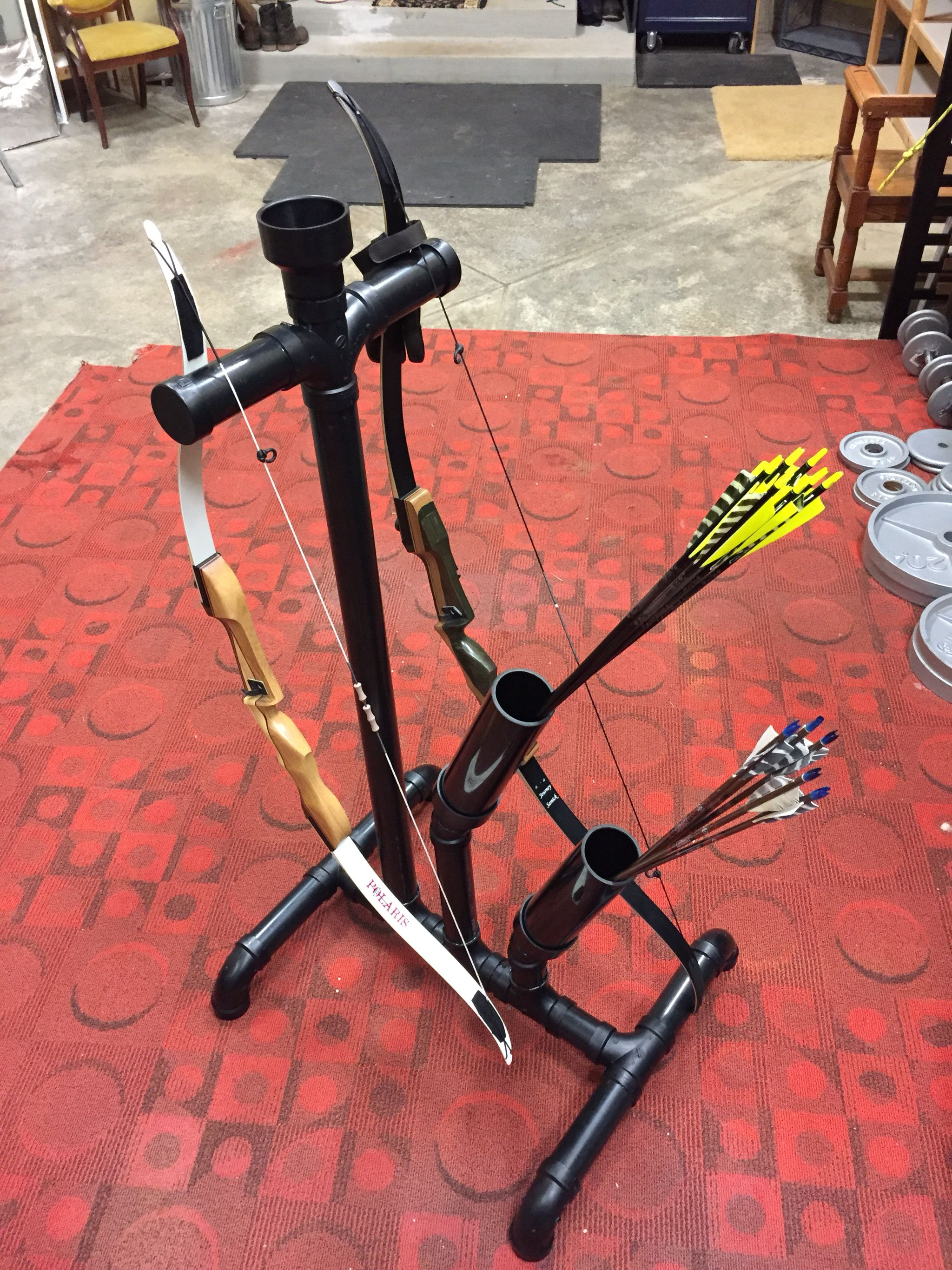 Archery ABS Recurve Compound Bow Holder Kick Stand Rack Bowstand
