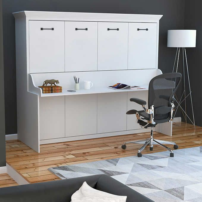Melbourne Queen Wall Bed with Desk Combo, White in 2020 | Murphy ...