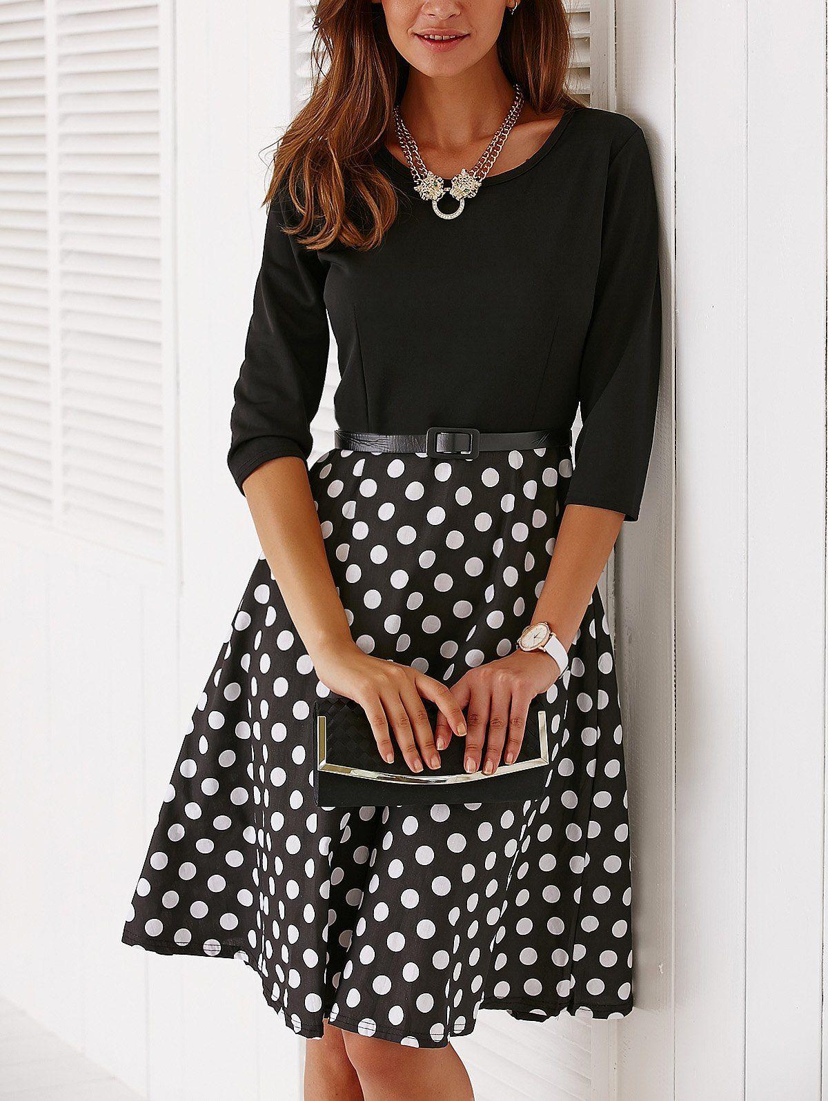 675c7740761 Vintage Belted Knee Length Polka Dot Jewel Neck Dress