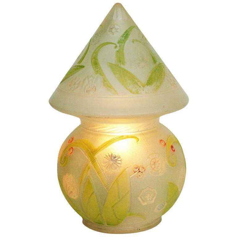 Rare Hand Painted Frost Glass Electric Lantern   From a unique collection of antique and modern table lamps at http://www.1stdibs.com/furniture/lighting/table-lamps/