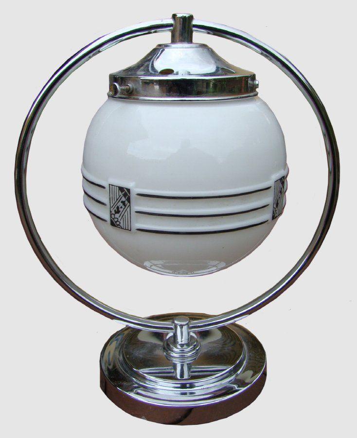 Chromed brass 1930 s Art Deco ring lamp w original moulded white