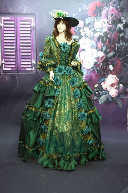 Hot Sale Green17 18th Century European Court Marie Antoinette Baroque Rococo Dress  Cosplay Costume Dress