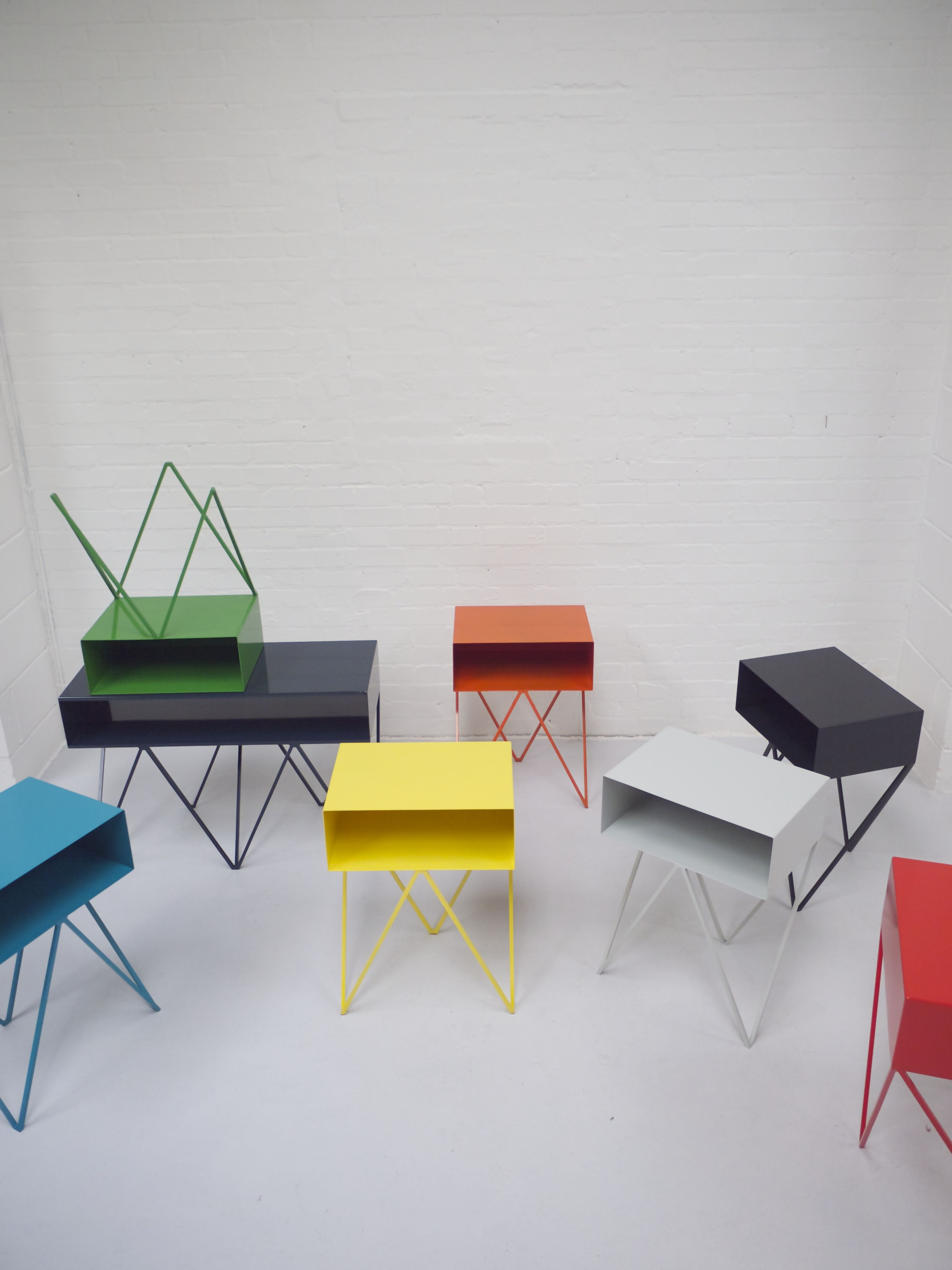 Powder coated steel robot side table colours www andnew co uk steel furniture