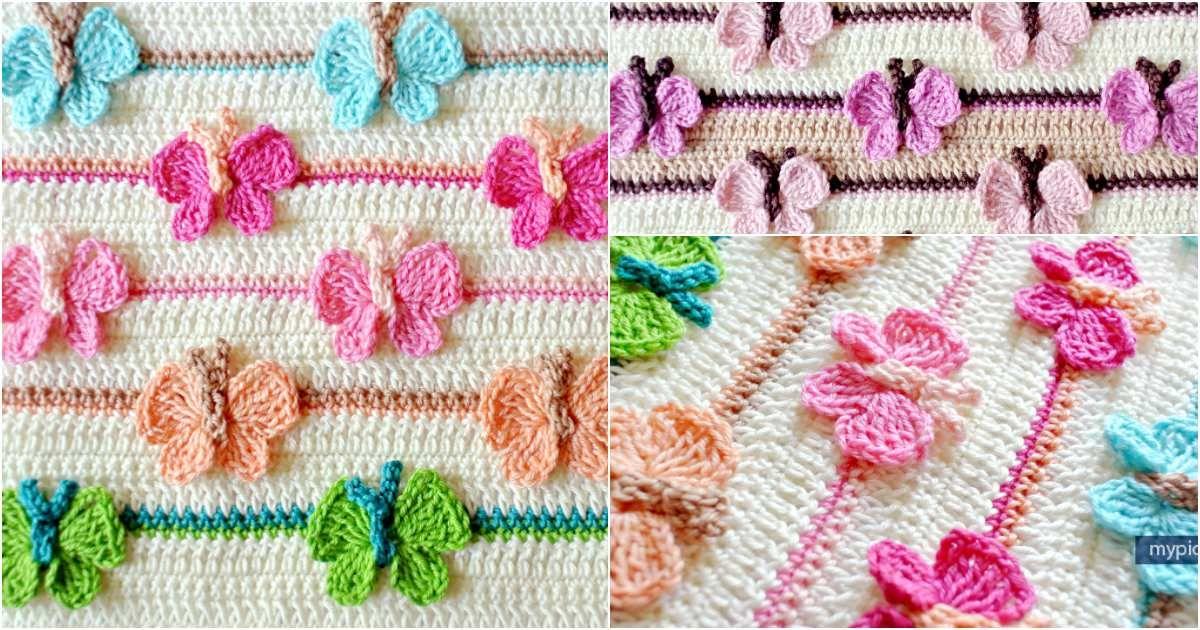 Butterfly Baby Crochet Blanket Free Pattern | Pinterest | Tapetes ...