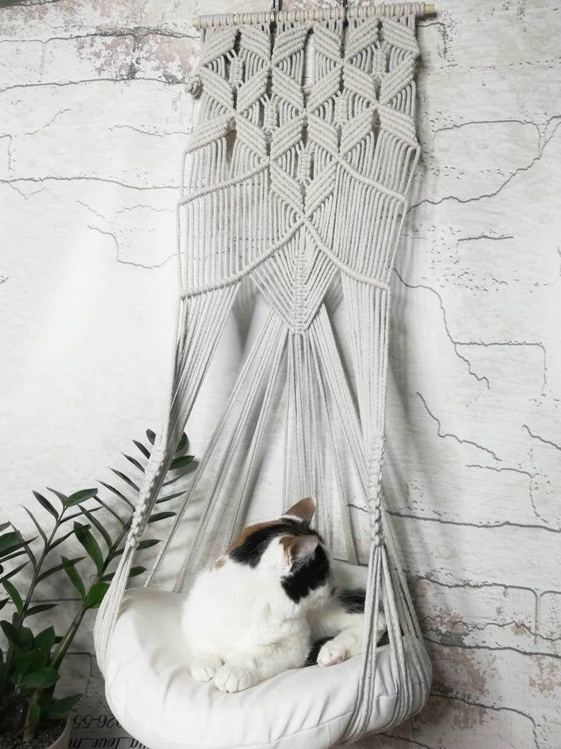 Macrame cat hammock wall, Bed for cat, Cat planter, Gift for cat lovers, Holiday pet